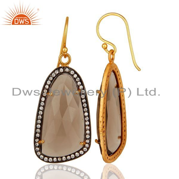 Suppliers Smoky Quartz And Cubic Zirconia Fashion Earrings In 18K Gold On Sterling Silver