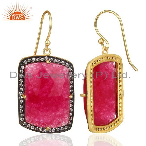 Suppliers 14K Gold Plated 925 Sterling Silver Red Aventurine White Zircon Drops Earrings