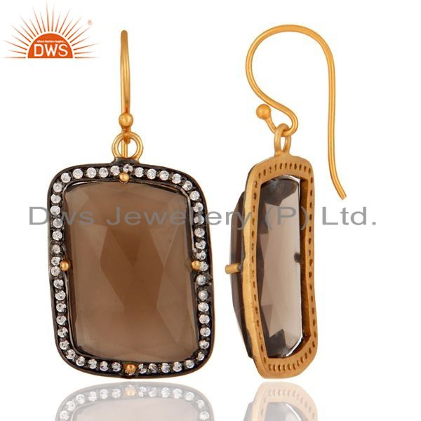 Suppliers 925 Sterling Silver Smoky Quartz Gemstone Earring With White Zircon