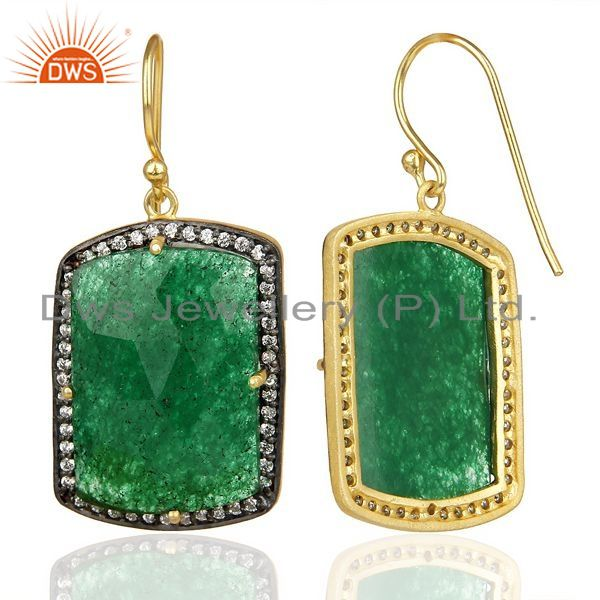 Suppliers 14k Gold Plated 925 Sterling Silver Green Aventurine Gemstone Dangle Earrings