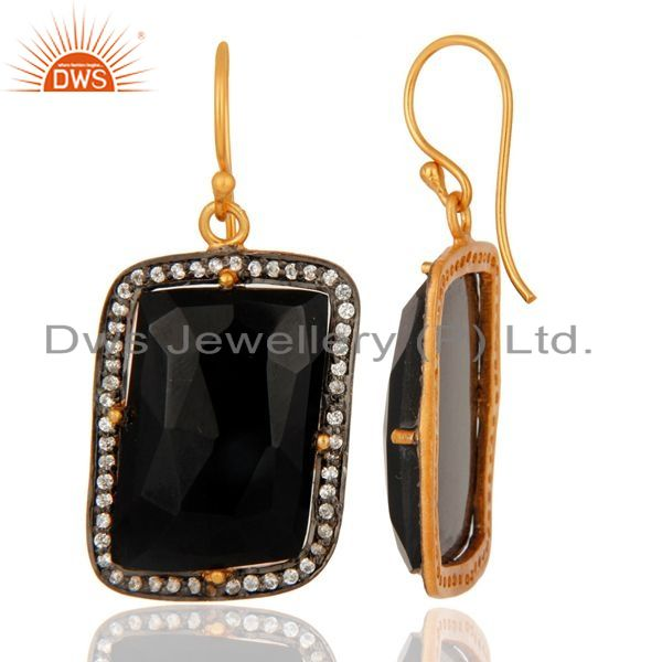 Suppliers Faceted Black Onyx Gemstone Prong Set Earrings In 22K Gold Over Sterling Silver