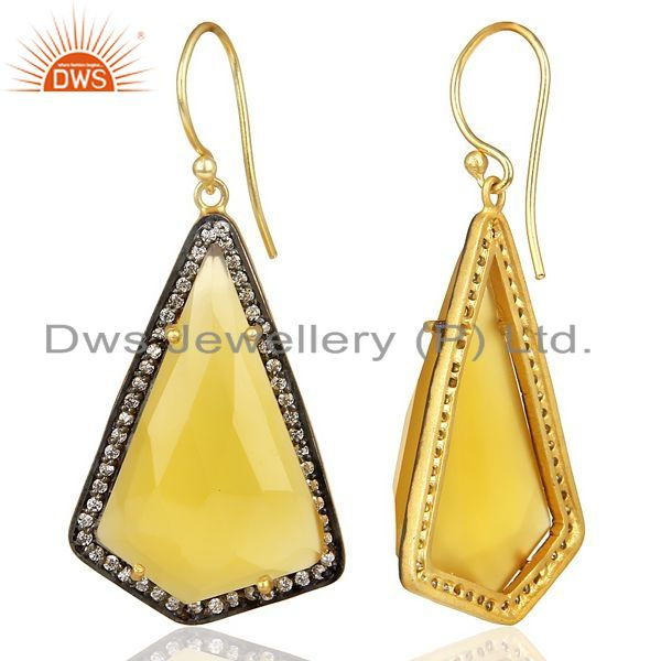 Suppliers 14K Gold Plated 925 Sterling Silver Yellow Chalcedony Gemstone Dangle Earrings
