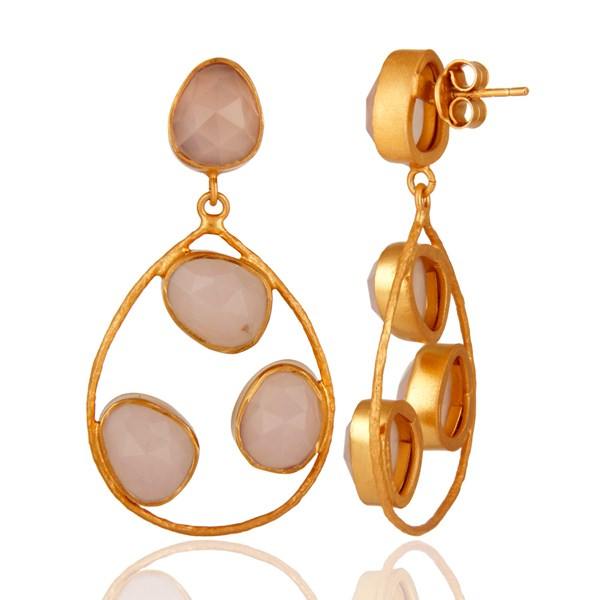 Suppliers Sterling Silver 925 Handcrafted Rose Chalcedony Earrings With Gold Plated