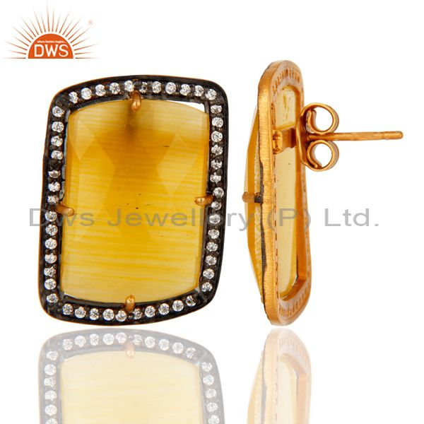 Suppliers Yellow Moonstone Gemstone And White Zircon Sterling Silver Designer Stud Earring