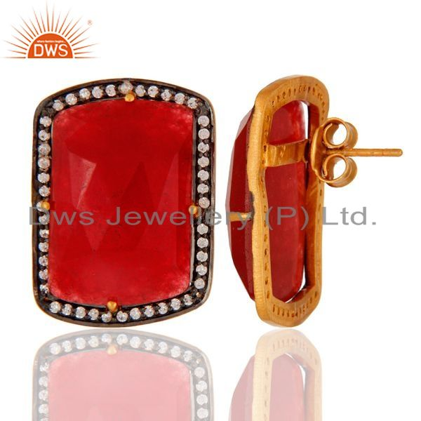 Suppliers Handmade Sterling Silver With Gold Plated Aventurine Girls Fashion Stud Earring