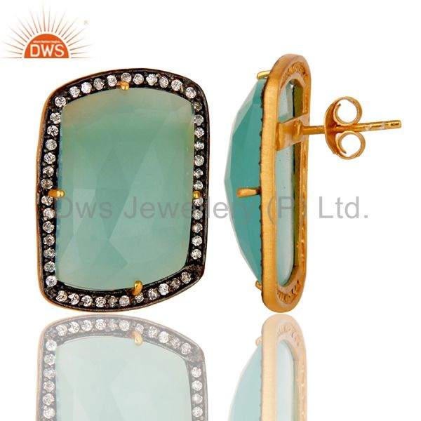 Suppliers Handmade Silver With Gold Plated Aqua Chalcedony Girls Fashion Stud Earring