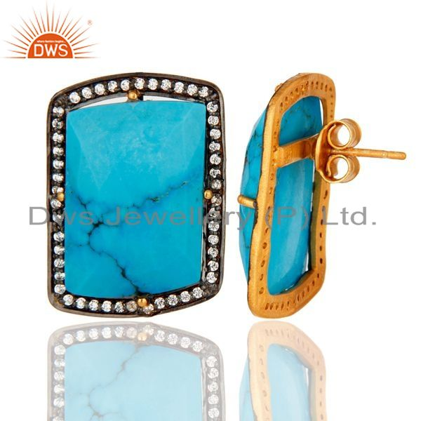 Suppliers 18K Yellow Gold Plated Sterling Silver Turquoise Gemstone Stud Earrings With CZ
