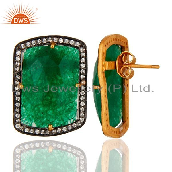 Suppliers Green Aventurine And Cubic Zirconia 18K Yellow Gold Over Silver Stud Earrings