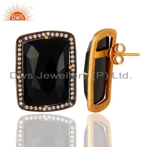 Suppliers Gold Plated Sterling Silver Faceted Black Onyx with Cubic Zirconia Stud Earrings