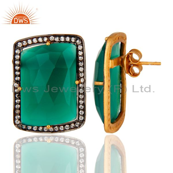 Suppliers Gold Plated Sterling Silver Fancy Shape Green Onyx Prong Set Stud Earrings
