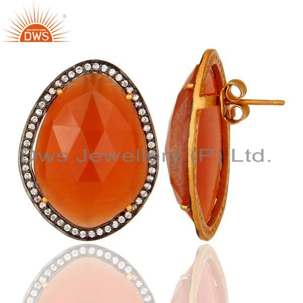 Suppliers Gold Plated Sterling Silver Peach Moonstone Stud Earrings With CZ Birthday Gift