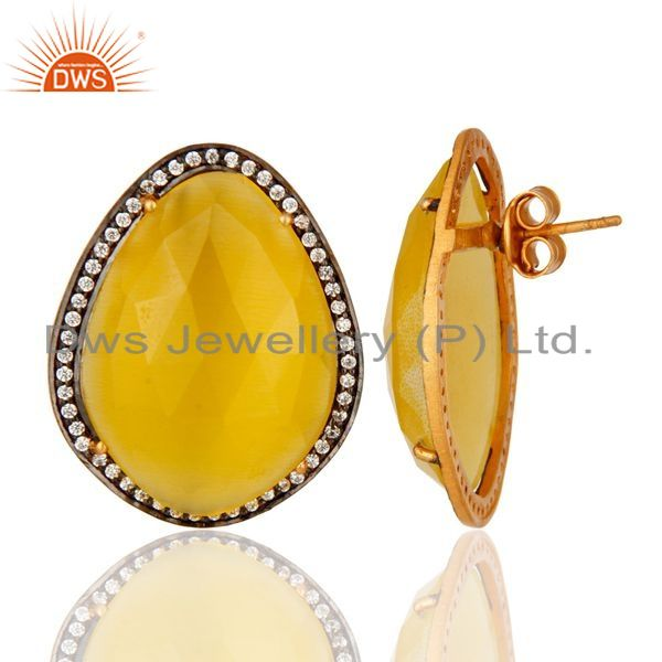Suppliers Moonstone Yellow Gemstone Large Stud Earrings With CZ Made in 24k Gold On Silver