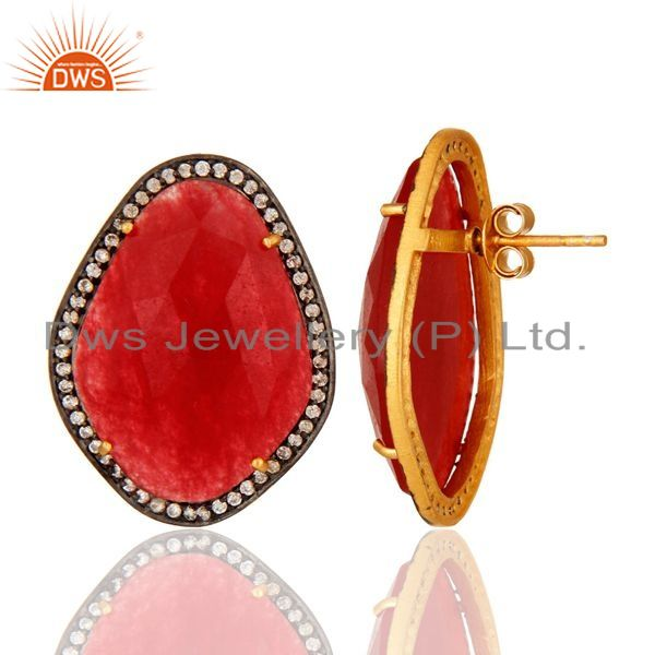 Suppliers Gold Plated Sterling Silver Stud Earrings With Red Aventurine Gemstone And CZ