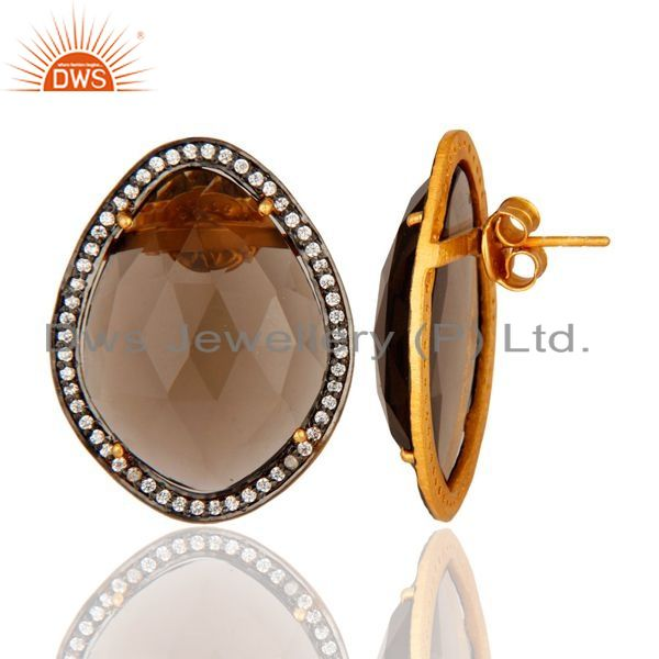 Suppliers Gold Plated Sterling Silver SMoky Quartz Gemstone Stud Fashion Earrings With CZ