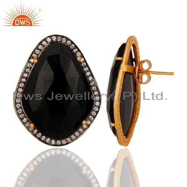 Suppliers Gold Plated Sterling Silver Faceted Black Onyx Fashion Elegant Earrings With CZ