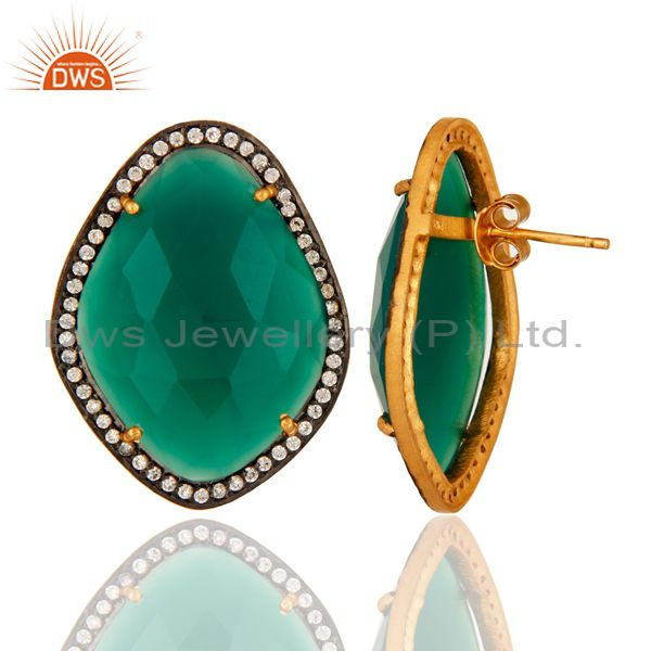 Suppliers Green Onyx And Cubic Zirconia Stud Earrings In 18K Gold Over Sterling Silver