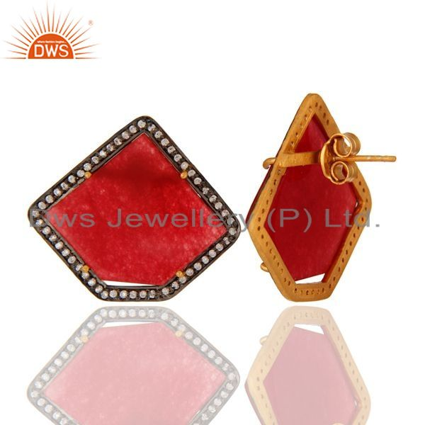 Suppliers 18K Gold Plated Sterling Silver Red Aventurine Semi-Precious Stone Stud Earring