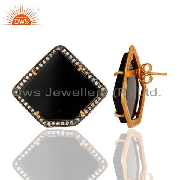 Suppliers Polished Fancy Shape Black Onyx & CZ Stud Earring In Gold Plated Sterling Silver