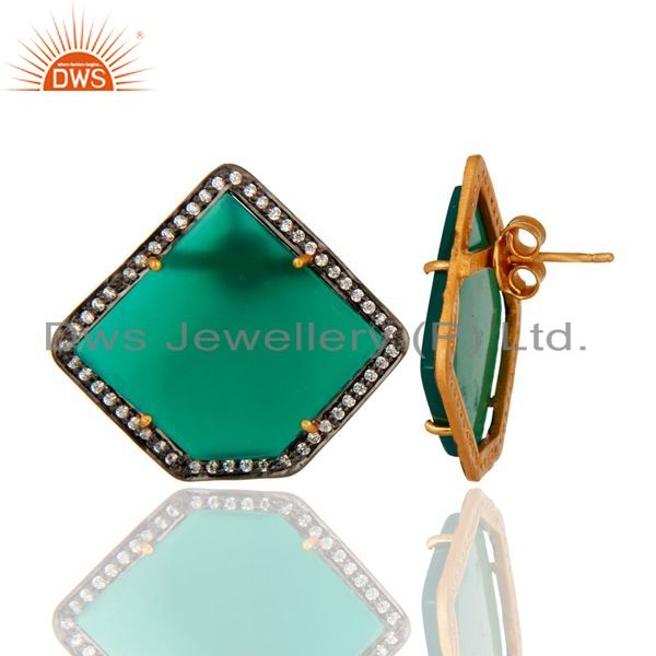 Suppliers Gold Plated Sterling Silver Green Onyx Gemstone Stud Earrings With CZ Surround