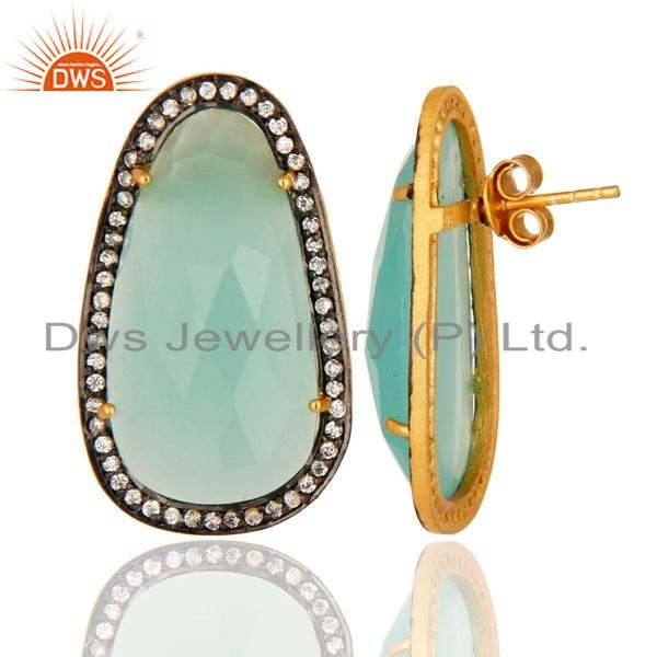Suppliers CZ And Aqua Glass Chalcedony Women Studs Earrings In 14K Gold Over 925 Silver