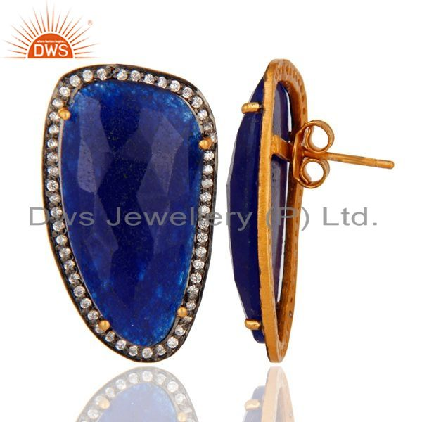 Suppliers Handcrafted Solid Silver Blue Aventurine Faceted Gemstone Stud Earrings With CZ