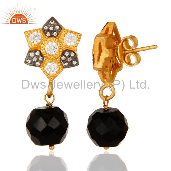 Suppliers Faceted Black Onyx Gold Plated Sterling Silver Wire Wrapped Earrings