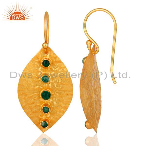 Suppliers Natural Emerald Dangle 14K Yellow Gold Plated 925 Sterling Silver Earrings