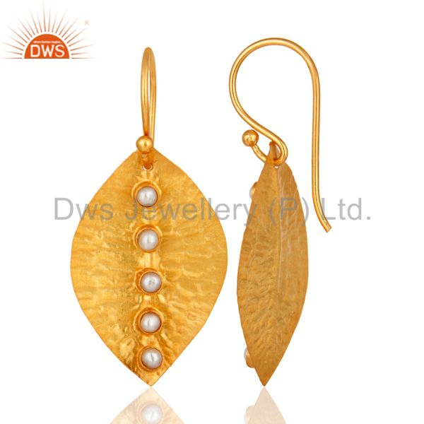 Suppliers Pearl Dangle 14K Yellow Gold Plated 925 Sterling Silver Earrings Jewelry