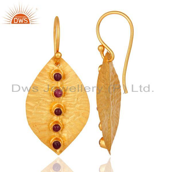 Suppliers Ruby Dangle 14K Yellow Gold Plated 925 Sterling Silver Earrings Jewelry