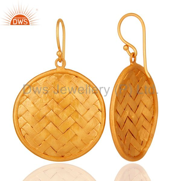 Suppliers 22K Yellow Gold Plated Sterling Silver Woven Designer Disc Dangle Earrings