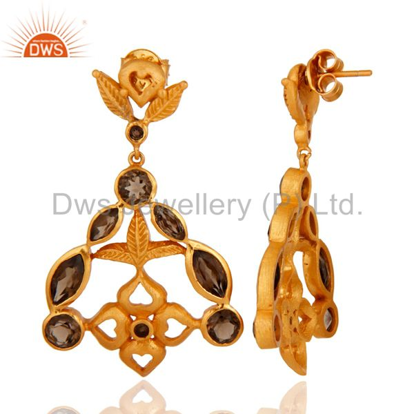 Suppliers 18-Karat Yellow Gold-Plated 925 Sterling Silver Smoky Quartz Designer Earrings