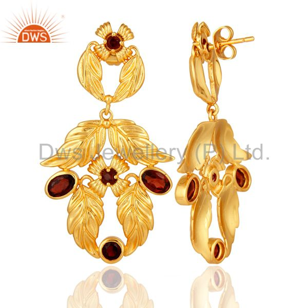 Suppliers Natural Garnet Gemstone Handmade Earrings With 14K Yellow Gold Plated Jewelry