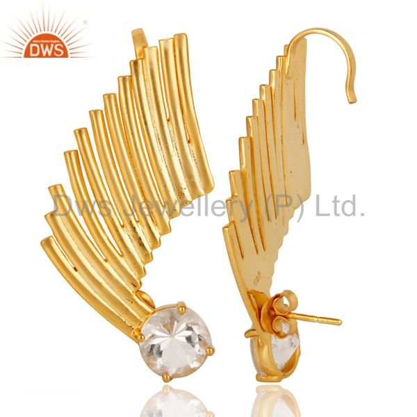 Suppliers 22K Gold Plated 925 Sterling Silver Art Deco Crystal Quartz Ear Cuff Jewellery