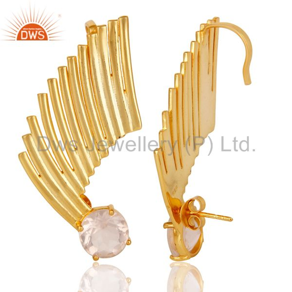 Suppliers 22K Gold Plated 925 Sterling Silver Art Deco Rose Quartz Ear Cuff Studs Earrings
