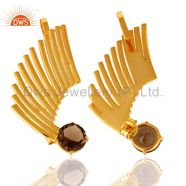 Suppliers 14K Gold Plated Sterling Silver Smoky Quartz Ladies Fashion Ear Cuff Earrings