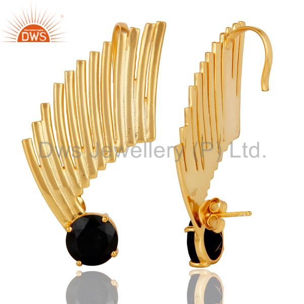 Suppliers 14K Gold Plated Sterling Silver Black Onyx Ladies Fashion Ear Cuff Earrings