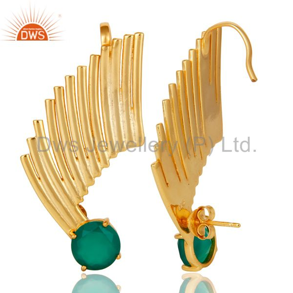 Suppliers 14K Gold Plated Sterling Silver Green Onyx Ladies Fashion Ear Cuff Earrings