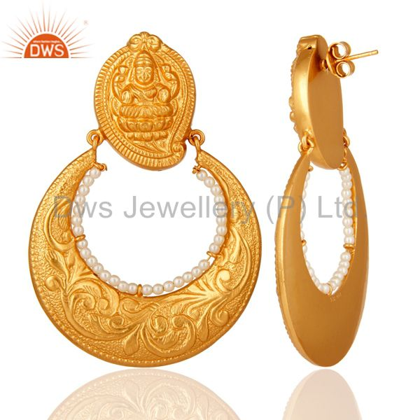 Suppliers 24K Gold Plated Sterling Silver Lakshmi Engraved Jhumka Earrings With Pearl