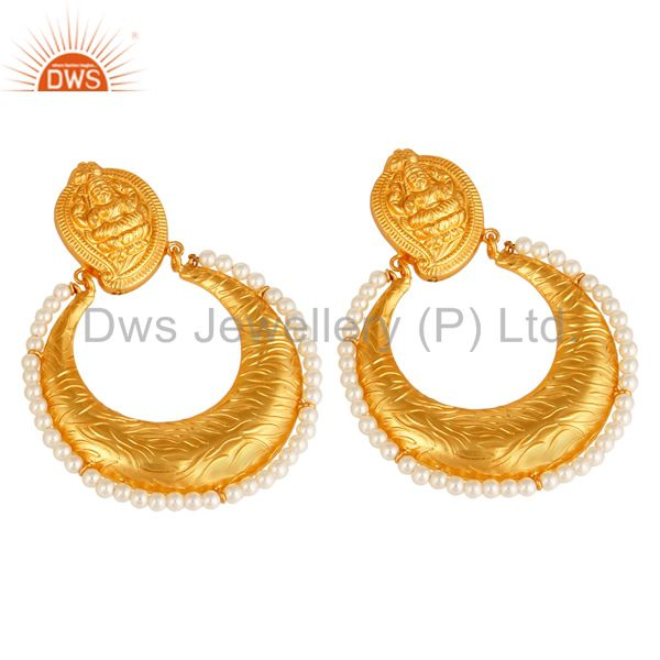 Suppliers Natural Pearl 14K Gold Plated Sterling Silver Temple Chandelier Earrings Jewelry