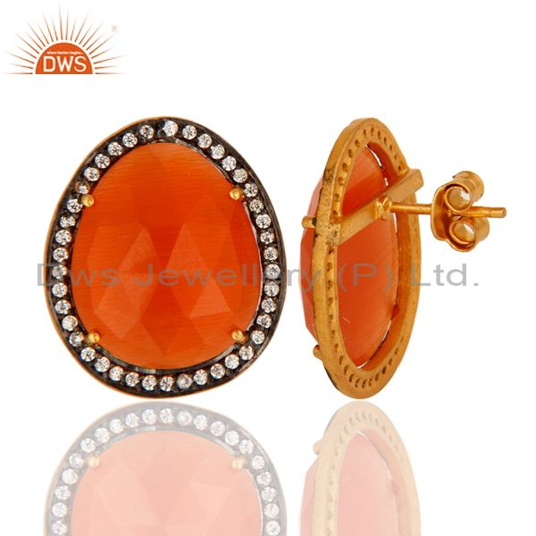 Suppliers Handmade Peach Moonstone Stud Earrings With CZ In Gold Plated On Sterling Silver