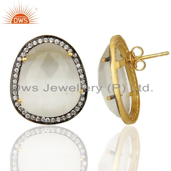 Suppliers 14K Gold Plated 925 Sterling Silver Moonstone White Zircon Stud Earrigs Jewelry