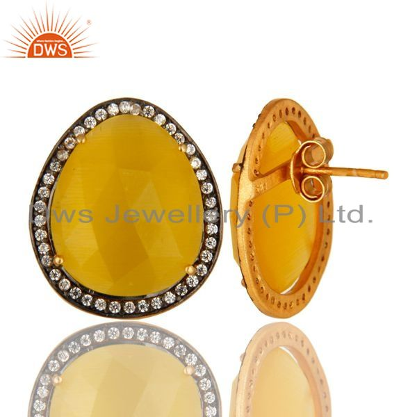 Suppliers Yellow Moonstone And CZ Sterling Silver Stud Earrings With 18K Gold Plated