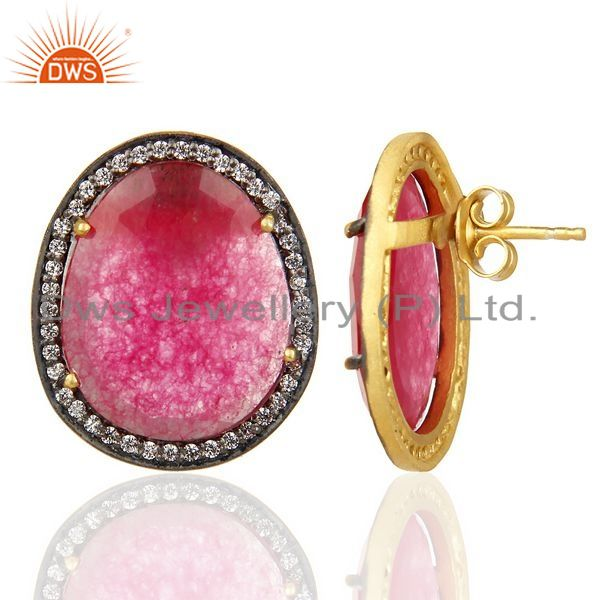 Suppliers 14K Gold Plated 925 Sterling Silver Red Aventurine White Zircon Stud Earrings