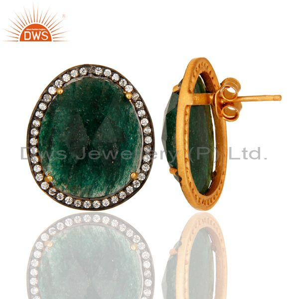 Suppliers Gold Plated 925 Sterling Silver Green Aventurine Gemstone Stud Earrings With CZ