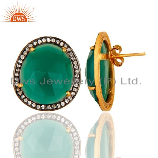 Suppliers Faceted Green Onyx Gemstone Sterling Silver Ladies Stud Earrings - Gold Plated