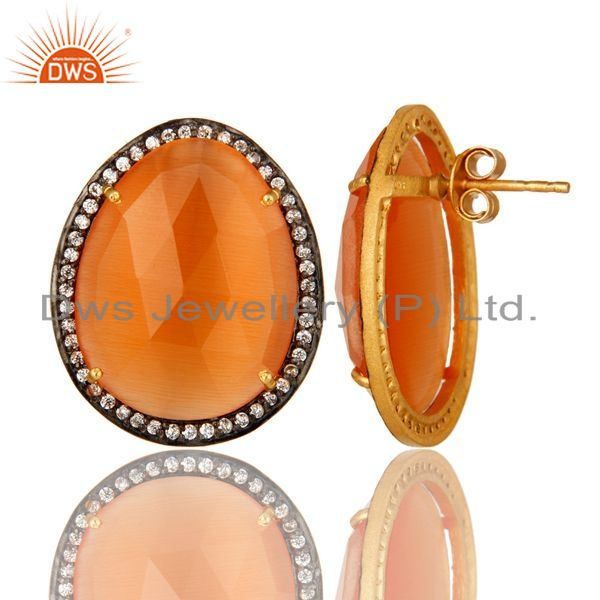 Suppliers 14K Gold Plated Sterling Silver Peach Moonstone And CZ Stud Earrings