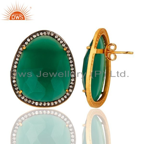 Suppliers Faceted Green Onyx Gemstone Stud Earrings With CZ in 18K Gold On Sterling Silver