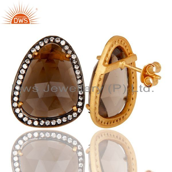Suppliers 18K Gold Plated Smokey Quartz and White CZ Sterling Silver Stud Earring