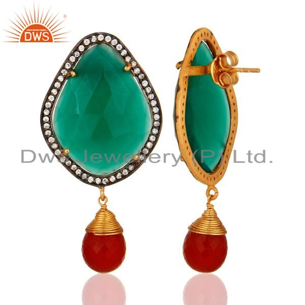 Suppliers Prong-set Green Onyx Gemstone Designer Earrings Made In 18K Gold Over 925 Silver