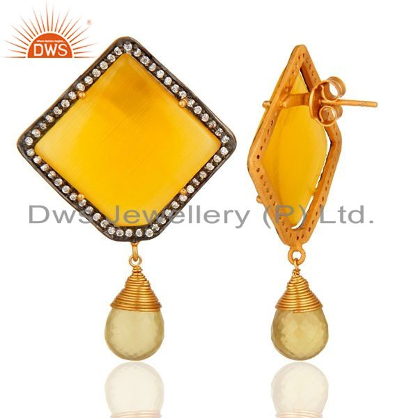 Suppliers Moonstone & Lemon Topaz 14K Yellow Gold Plated Sterling Silver Earrings With CZ